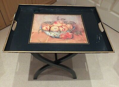 BUTLER TRAY (DECORATED WITH BOWL OF FRUIT)with STAND.BLACK WOOD. VINTAGE 1970s.