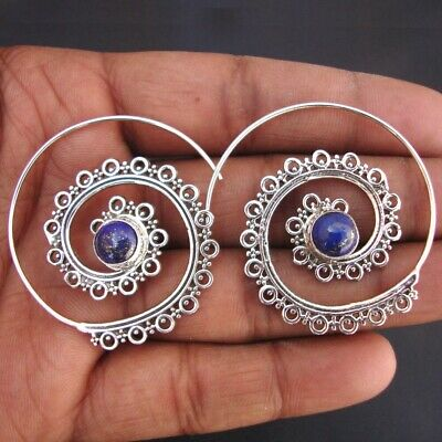 Lapis Lazuli Pure 925 Sterling Silver Indian Traditional Jewelry Earring Rv896 Low Price Gemstone