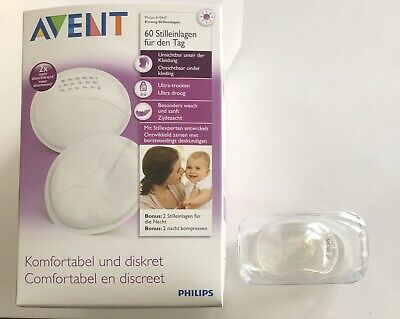Avent 2 embouts sein silicone S + coussinets absorbants jetables jour