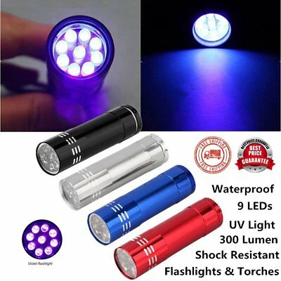 Nice Mini Ultra Violet Torch Aluminum 9 LED FLASHLIGHT BLACKLIGHT Torch Light GH