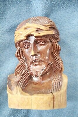 GORGEOUS Vintage Hand Carved Jesus Christ Crown Catholic Christian Wood Wooden