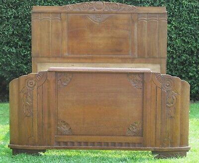 French Provincial Carved Oak Standard Double 4 feet 6 Inch wide Bed Pine Base