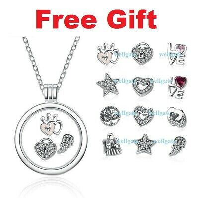 7a080f193 925 Sterling Silver Floating Locket Petites Necklace fit European Charm  Pendant