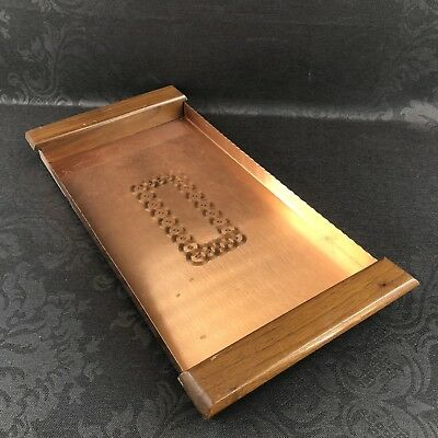 "Vintage Fantasy Copper 20"" Teak Wood Handles Serving Tray Dish Metal Canada MCM"