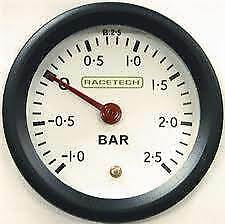 Racetech Turbo Boost Pressure Gauge 52mm Diameter with White Dial Face