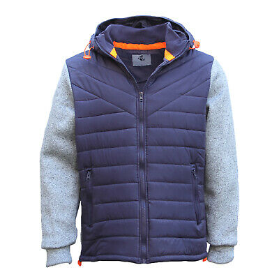 Men's Thick Padded Puffy Puffer Hooded Jacket Zip Up Winter Quilted Warm Coat