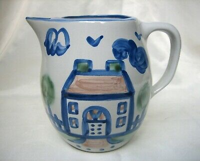 Vintage MA Hadley Large Pottery Pitcher with a House