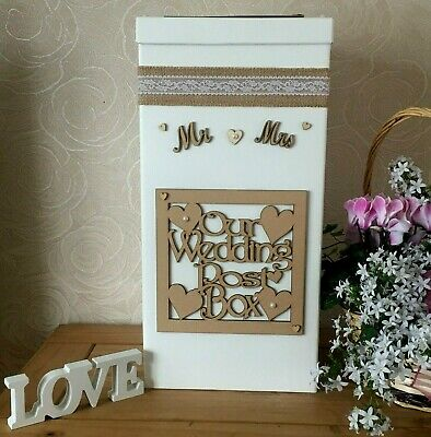 Wedding Card Post Box Personalised Mr & Mrs Heart & Wooden Plaque Shabby Hessian
