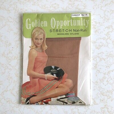 Vintage 60s GOLDEN OPPORTUNITY Stretch Non- RUN Seamless NYLONS Stockings 9.5-10