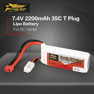 ZOP Power 7.4V 2200mAh 35C 2S Lipo Battery T Plug For RC Helicopter Drone Car /k
