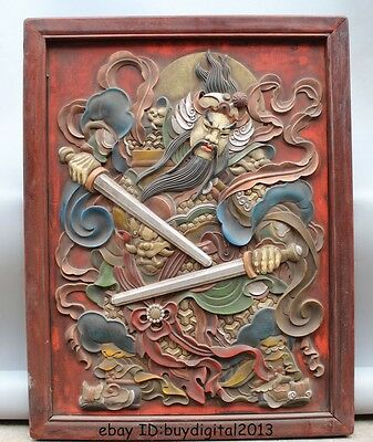 "33"" Chinese Wood Painted handwork carve Bi Xie Door God Qin ShuBao Yu ChiGong"