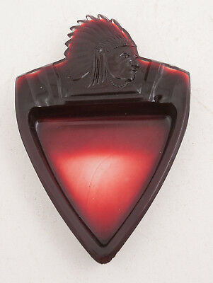 Ruby Red & Clear Glass Arrowhead Shaped w/ Indian Head Ashtray (B3L)