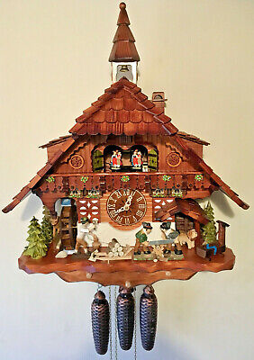 Stunning 8 Day large 60cm Musical/Dancers/Moving Sawers&Lamberjack Cuckoo Clock