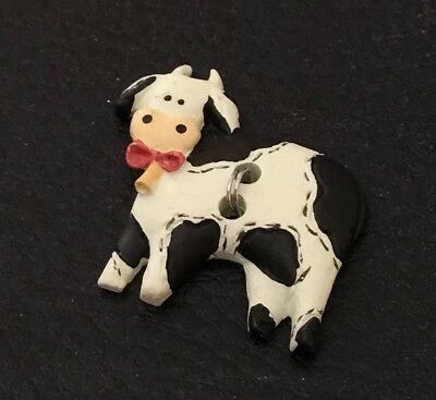 """Vintage 1"""" Realistic Novelty Goofy Figural Plastic Cow Button"""