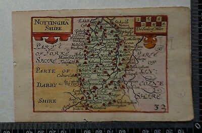 1646 - Scarce Speed/Keere Map of Nottinghamshire. Over 370 years old.