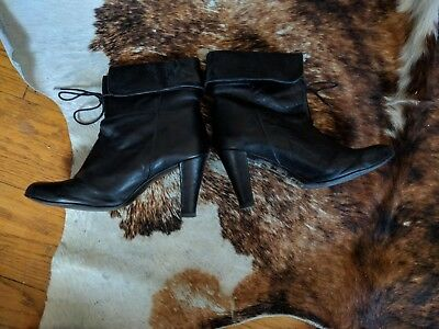 4ae17f5f4f7b black leather boots french et vois 39 us 8 designer collab la redoute sezane