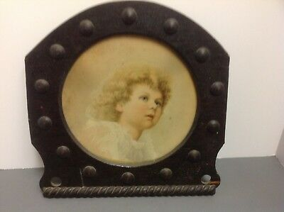 ANTIQUE MISSION ARTS CRAFTS wood frame boy print unique