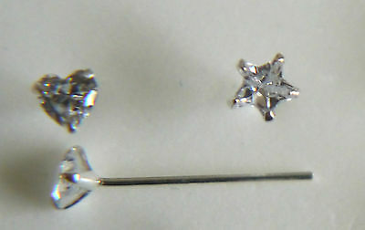 STUNNING STERLING SILVER WIRE C//Z NOSE STUD CLAW SET BOBBLE END 3.9MM X 6MM 37
