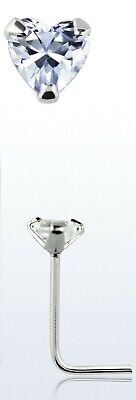 Stunning Sterling Silver Heart C/Z Nose Stud Claw Set L Shape 3Mm X 10Mm 55