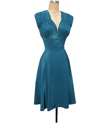 dba506504c19 TRASHY DIVA 1940's Dress teal blue silk holiday retro vintage glam 40s XS  ...