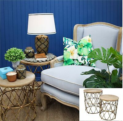 Set of METAL CANEWARE Nested Side Tables Round Drum Timber Wood Coffee/Bedside