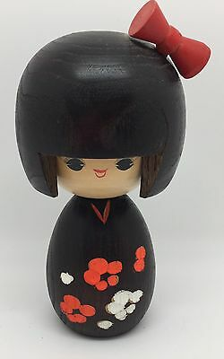 "Japanese 5.75"" Wood Kokeshi Doll: Hand-crafted w/ Flowers & Ribbon (RF564)"