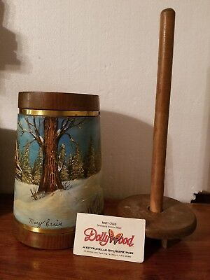 Vintage DOLLY WOOD THEME PARK HAND PAINTED ART MARY CRAIN DIMENSIONAL WORK ON...