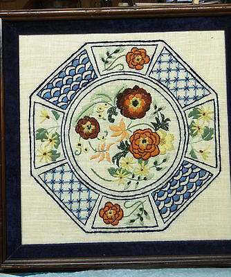 Framed Needlepoint Design- Imari Like