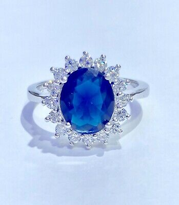 Princess Diana Simulated Blue Sapphire CZ Oval Silver Halo Ring 925 Size 7