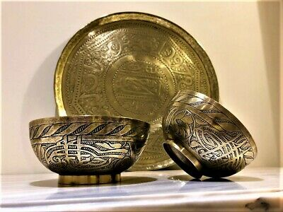 Antique Persian islamic indian ottoman damascus eastern brass tray and two bowls