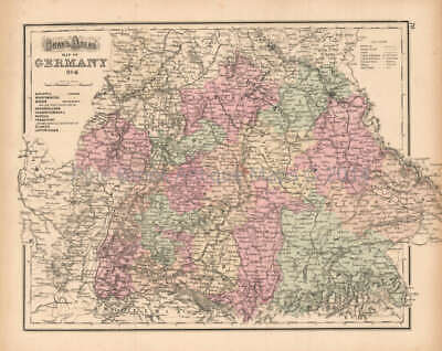 Southern Germany Antique Map Gray 1873 Original