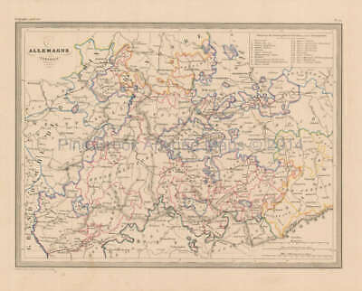 Central Germany Antique Map Malte Brun 1850 Original