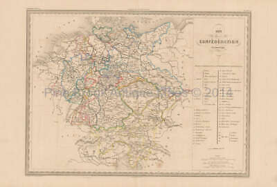German Confederation Antique Map Malte Brun 1850 Original