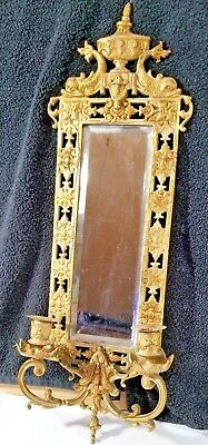 Original Antique Bradley & Hubbard Mirror & Wall Sconce Circa 1880 Cast Brass