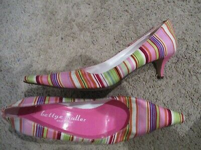 a8727d21b BETTYE MULLER colorful striped fabric pumps shoes pink heels sz 37.5 sz 7