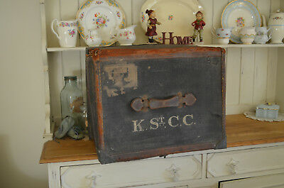 Leather Storage Trunk St C.c. Very Old Vintage Industrial Steamer Army K