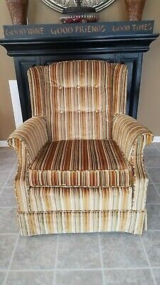 Vintage Gold Striped Velvet Fabric Tufted Arm Chair - VGC