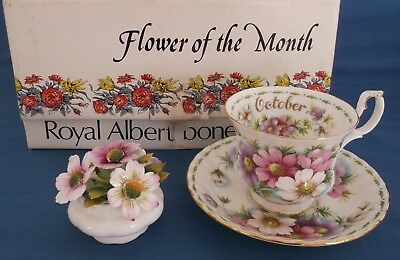 Vintage Royal Albert Flower Of The Month October Cup Saucer Posy Unused Boxed