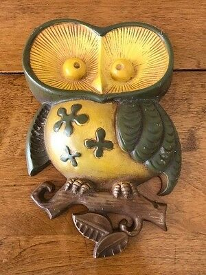 Vintage Mid Century Green and Yellow Owl Wall Hanging by Sexton, 1970