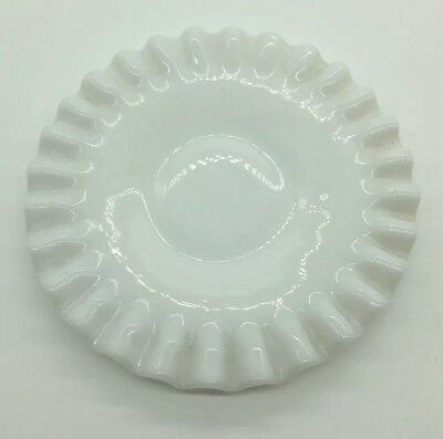 Milk Glass Hobnail 6 Inch Saucer with Crimped Edging