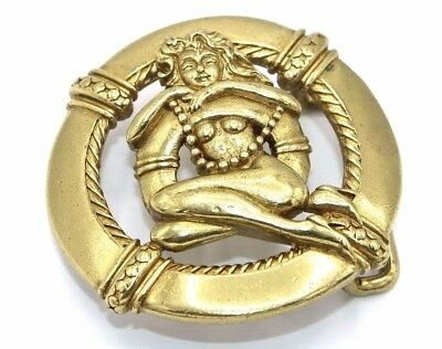 BIG & HEAVY Vtg Modernist VIRGO THE VIRGIN Brass NAUTICAL NUDE LADY Belt Buckle