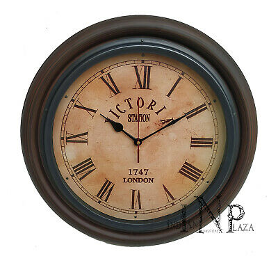 Antique Vintage Brass & Wooden 16 inch Wall Clock Victoria Station London 1747