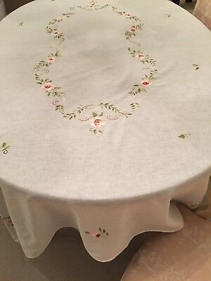Vintage Linen Embroidered Tablecloth W/ Lovely Soft Coloured Flowers