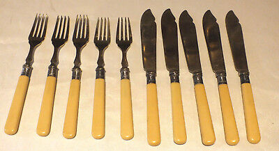 10 x Vintage EPNS Silver Plated A1 cutlery knife & fork Fish or cake knives fork