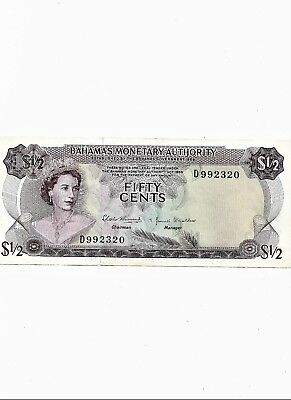 1968 Bahamas 50 Cents Bank Note Paper Money Fifty Half Dollar oro2F