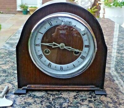 Mantel Clock 8 Day Smith's Enfield. Striking the half & full Hour 1952
