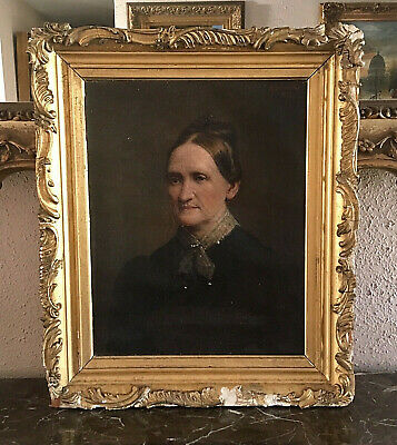 Antique Oil Painting Portrait of a Woman in a Black Dress Signed & Dated 1894
