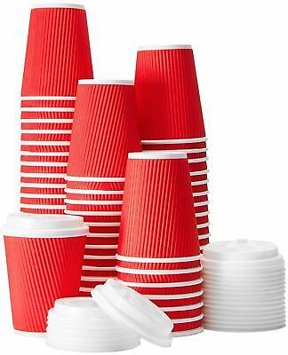 60 Pack -12 oz Premium Quality Disposable Hot Paper Coffee Cups With Lids