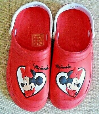 Disney Minnie Mouse Girls Clog Sandals In Red Uk 2/3 Eu 33/34 Us 4/5 Kids New!