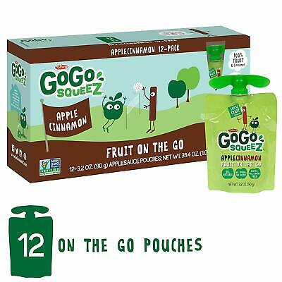 GoGo squeeZ Applesauce on the Go, Apple Cinnamon, 3.2 Ounce (12 Pouches), Gluten